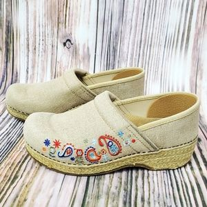 Dansko Vegan Jute Pro Embroidered Clogs